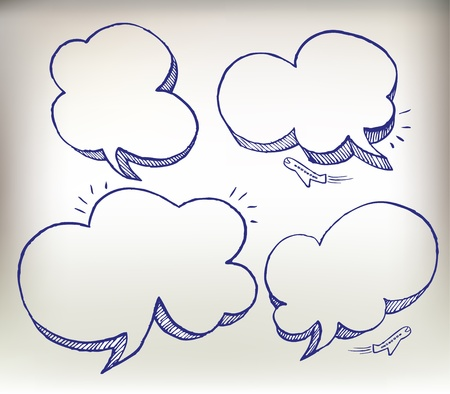 thought bubble: Sketch doodle speech cloud illustration set