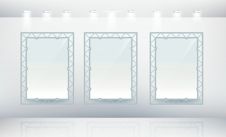 Three blank canvas with metal frames in gallery Stock Vector - 13899639