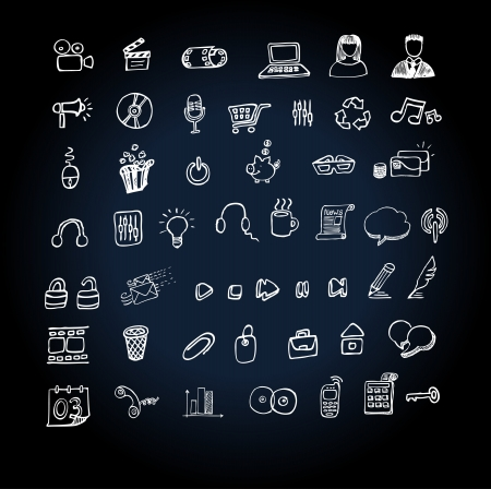 Icon set doodle for web and internet Vector
