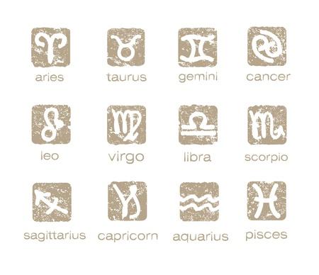 Zodiac horoscope signs vector set