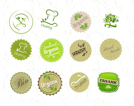 Labels set for organic natural eco food and products Vector
