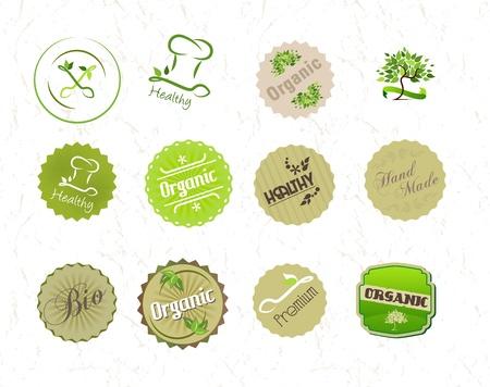 Les étiquettes fixées pour les aliments bio éco naturel et des produits