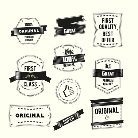 Retro Vintage labels set Premium quality and Original theme