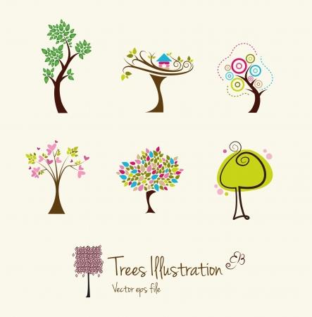 cartoon trees: Tree art illustrations Illustration