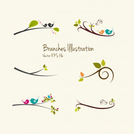boom met vogels: Takken kunst illustraties