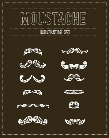 Mustaches sketch doodle set Illustration