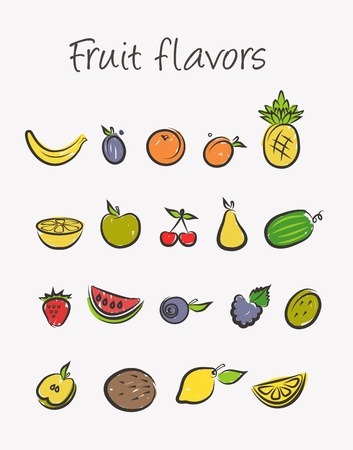 fruit icons set Stock Vector - 15512326