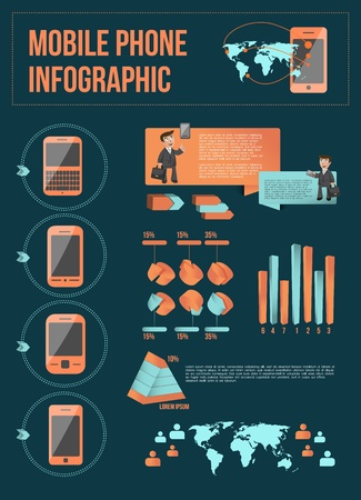 Mobile phone infographic with elements Vector