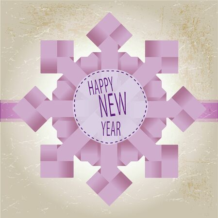 Origami snowflake with happy new year text Vector