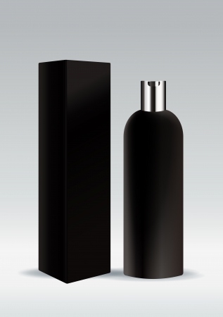 packaging icon: Black cosmetic bottle Illustration