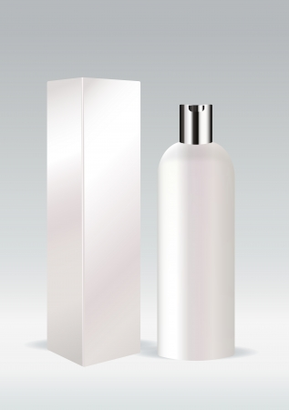 toiletry: White cosmetic bottle