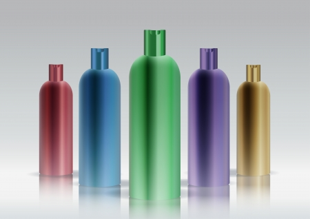 Colorful cosmetic bottle set
