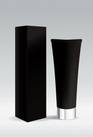 Cosmetic tube de couleur noire pour la cr�me ou de gel Illustration