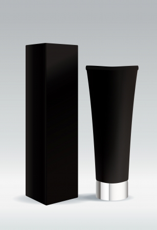 product box: Cosmetic tube in black color for cream or gel Illustration