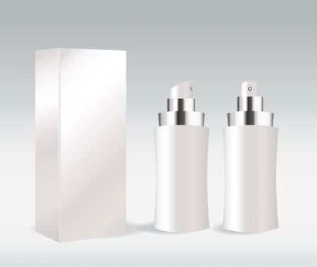 bodycare: White cosmetic container for face cream, gel, serum or foundation