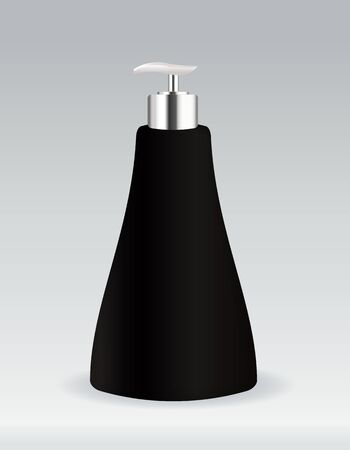 perfume bottle: Black cosmetic container bottle for soap or gel