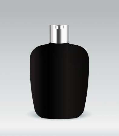 Black cosmetic container bottle Vector