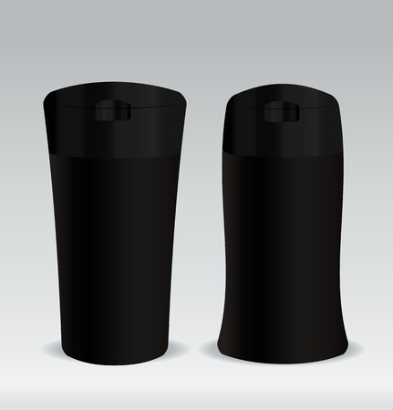 Black cosmetic container bottle for shower gel, body lotion or shampoo