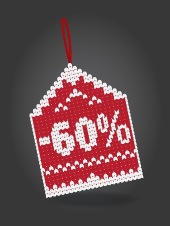 markdown: 60 percent off discount price tag Illustration