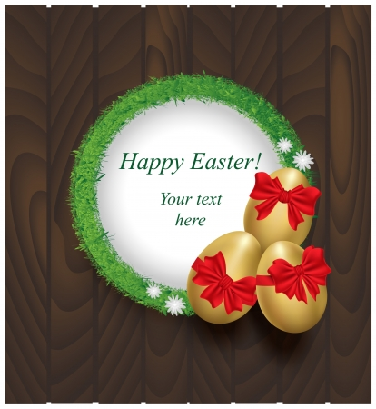 Easter eggs with red bows on a wooden background and grass frame Vector