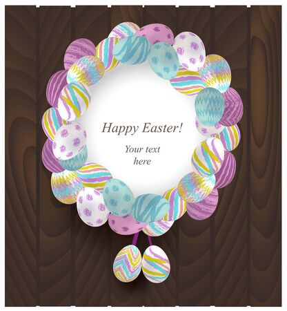 Colorful Easter Wreath on a wooden background vector illustration Stock Vector - 17013324
