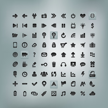Web and Mobile Icon Set isolated on background Vector