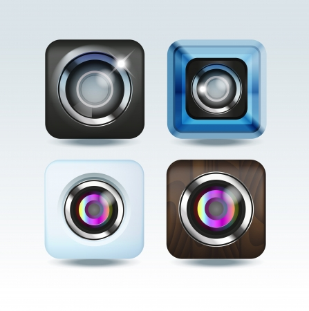Camera photo app icon set Vector