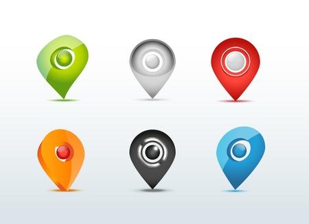 global positioning system: Map GPS communication icon set illustration
