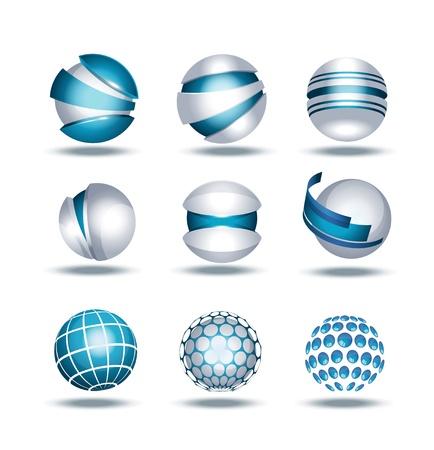 Globe sphere 3d icons set illustration