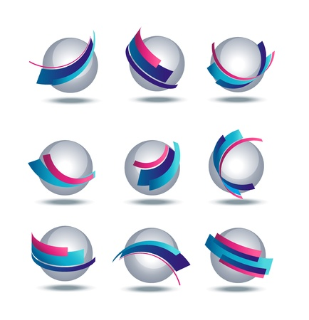 Abstract 3d icon set with colorful stripes Stock Vector - 17728906