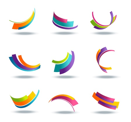 Abstract 3d icon set with colorful ribbon elements Ilustração