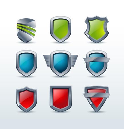 Set of colorful shiny metallic shield icons  illustration