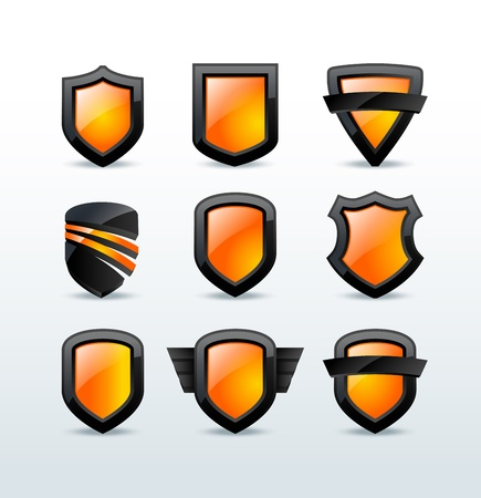 Set of black shiny shield icons  illustration