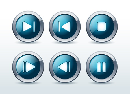 pause button: Media player icons set  illustration