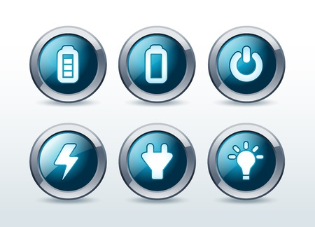Web energy button icon set  illustration Vector