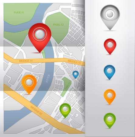 global positioning system: city map with gps pointers icons  illustration
