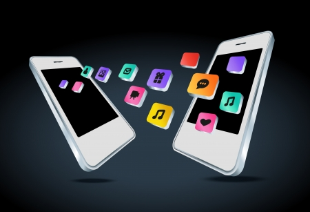 Mobile phone with app icons illustration Vector