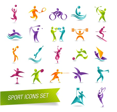 hiker: Colorful sports icon set vector illustration