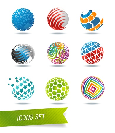 Sphere icon set Illustration