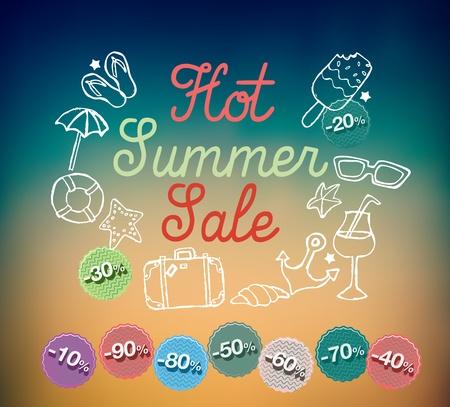 Hot summer sale banner illustration
