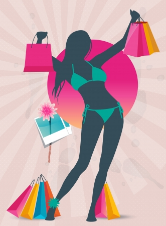 Summer shopping sale banner with fashion girl silhouette Vector
