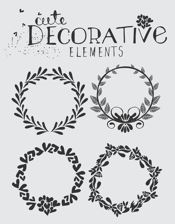 floral wreath: Vintage Hand Drawn Wreath with Floral Elements Vector Illustration