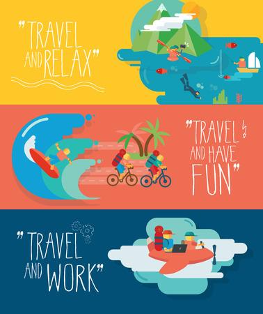ocean kayak: Conjunto de ilustraciones vectoriales de viaje. Los diferentes tipos de viajes. Pesca, buceo, surf, volar.
