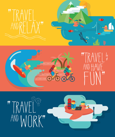 kayak: Set of traveling vector illustrations. Different types of travel. Fishing, diving, surfing, fly. Illustration