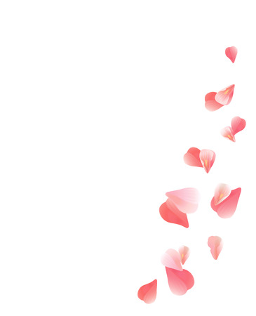 Abstract background with flying pink, red rose petals. Vector illustration isolated on white background. EPS 10, cmyk Иллюстрация