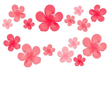 赤いピンクの花は、白い背景に隔離されています。  イラスト・ベクター素材