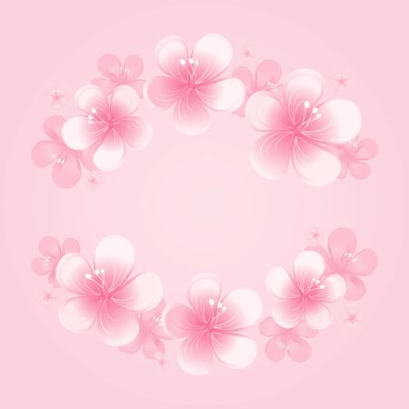Light pink flowers Frame isolated on a pink background.