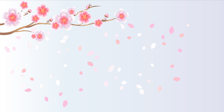 Branch of sakura with Pink flowers. Cherry blossom and flying petals isolated on light Violet gradient background. 일러스트