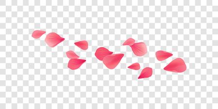 Pétales Roses Fleurs. Pétales volants de Sakura rose rouge isolés sur fond horizontal transparent. Vecteur EPS 10 cmyk
