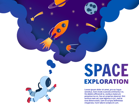 Notebook cover template with space paper cut style doodles. Astronaut exploring space. Paper cut style. Planets, rockets, comets in the sky. Notebook concept concept. Vector editable notebook cover